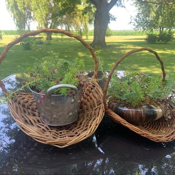 Vintage 70's MCM Boho Farmhouse Gathering Baskets